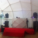 Soundsystem set-up before the party started
